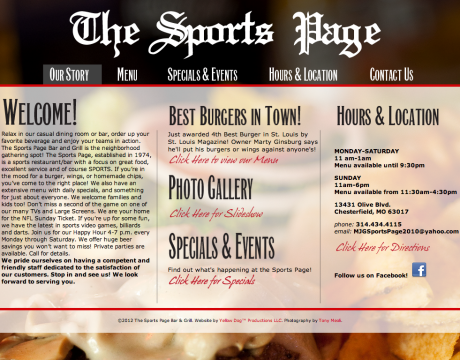 The Sports Page Website